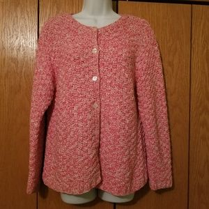 Talbots Hand Knit Pink Chunky Sweater Large